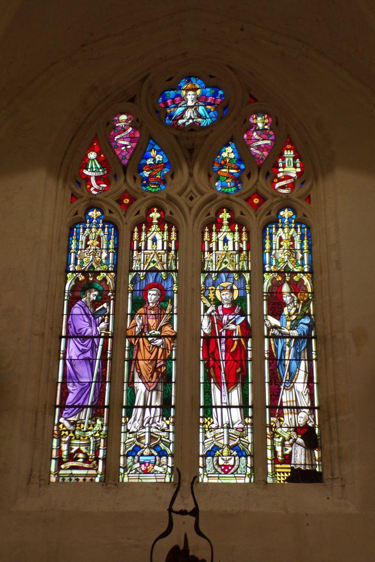 Sonnac - L'église Saint-Etienne - Les vitraux 'St Paul, St Etienne, St Eutrope, St Clément' (2 janvier 2018)