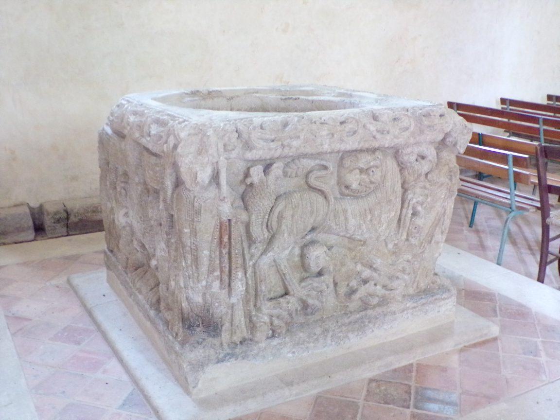 Ars - L'Eglise Saint-Maclou - Fonts baptismaux (24 mai 2018)
