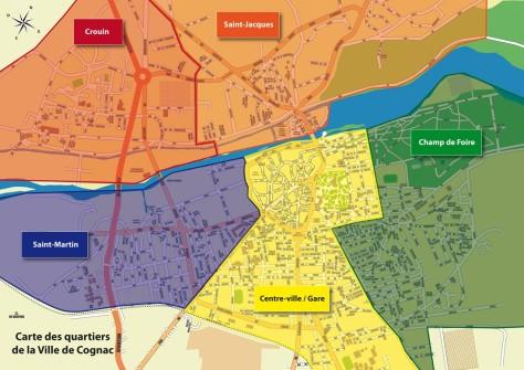 Carte des quartiers de la Ville de Cognac
