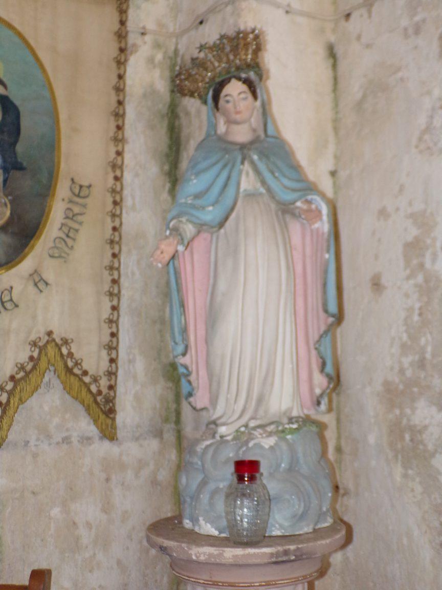 Plaizac - L'église Saint-Hippolyte (ou Saint-Martin) - La Vierge Marie (21 août 2018)