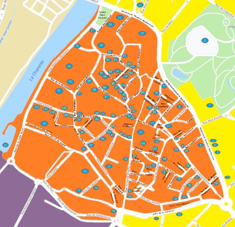 Plan du Vieux Cognac - Patrimoine