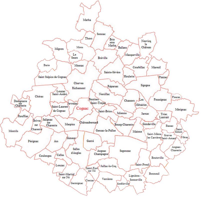 Carte Cognac et ses environs