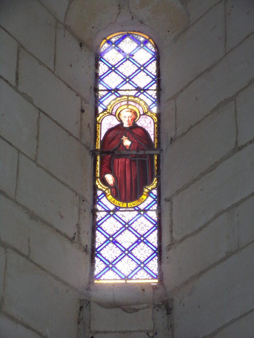 Salles d'Angles - La Chapelle des Templiers - Le vitrail 'Saint Groux' (30 juin 2020)