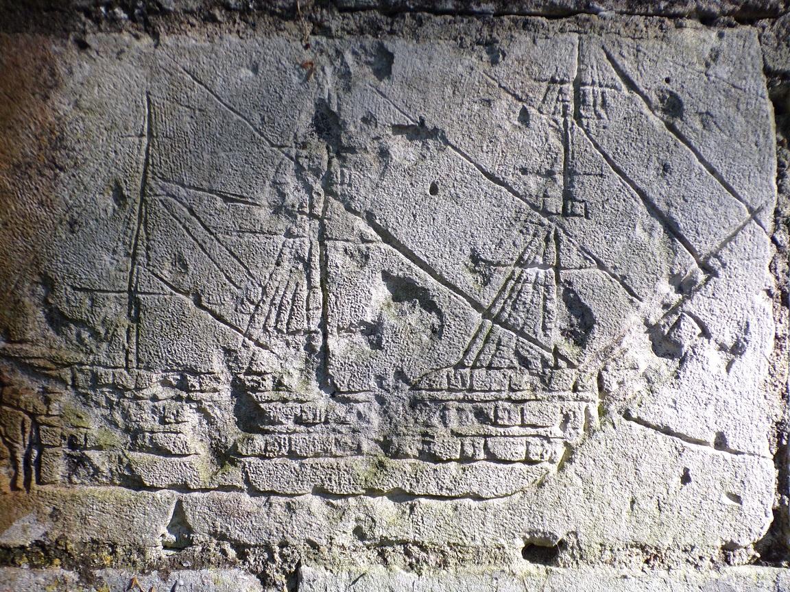 Saint-Simon - Trace des Gabariers sur un mur (21 septembre 2016)