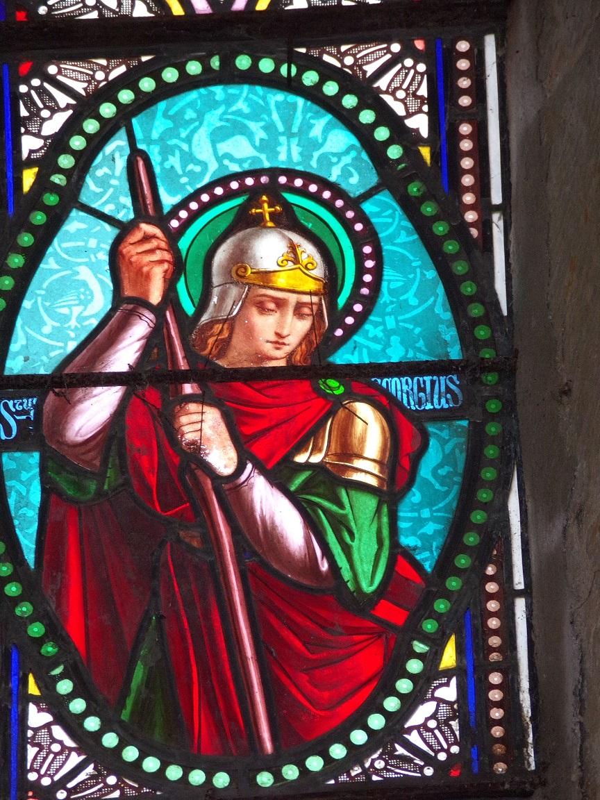 Migron - L'église Saint-Nazaire - Le vitrail 'Saint Georges' (29 juin 2019)