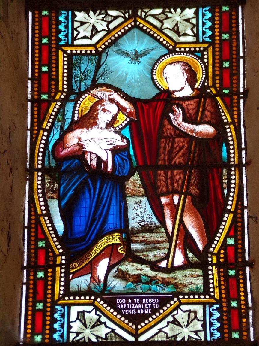 Migron - L'église Saint-Nazaire - Le vitrail 'Ego a te debeo baptizari et tu venis ad me' (29 juin 2019)