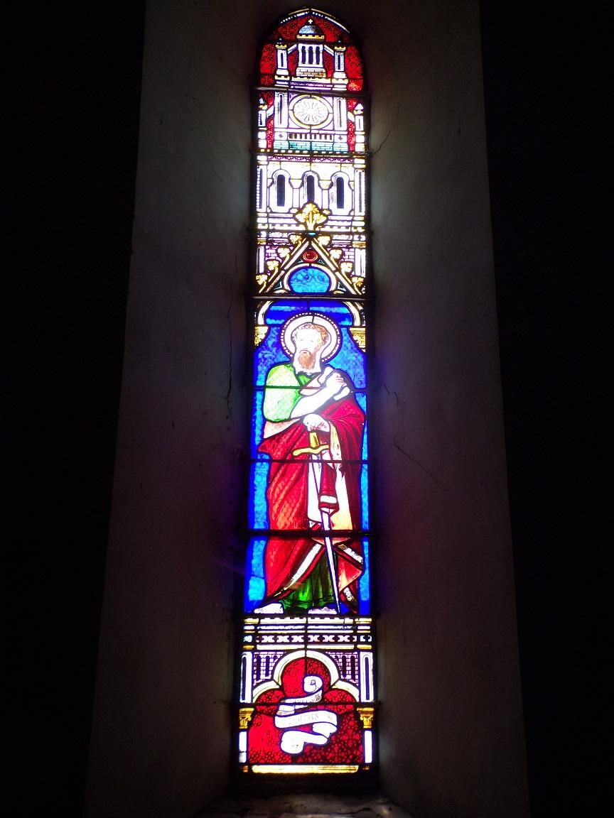 Angeac-Champagne - L'Eglise Saint-Vivien - Le vitrail 'Saint Paul' (13 mai 2019)