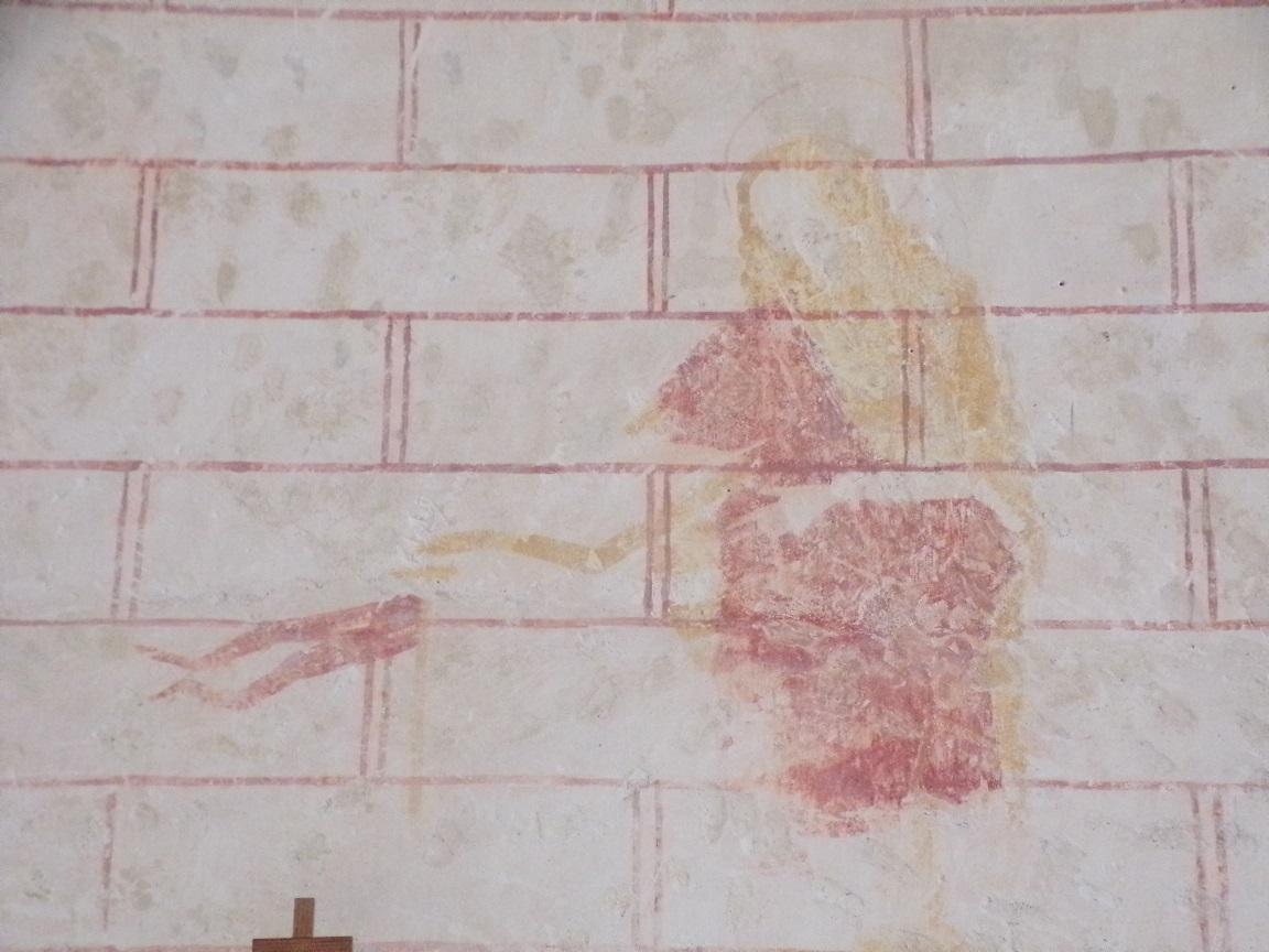 Chassors - L'église Saint-Romain - Une peinture sur un mur (15 septembre 2018)