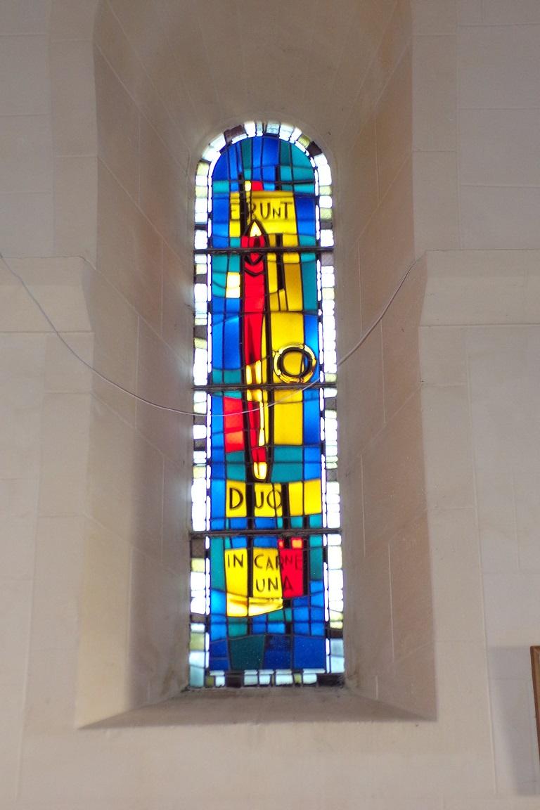 Saint-Sulpice de Cognac - L'église Saint Sulpice - Le vitrail 'ERUNT DUO IN CARNE UNA' (12 avril 2017)