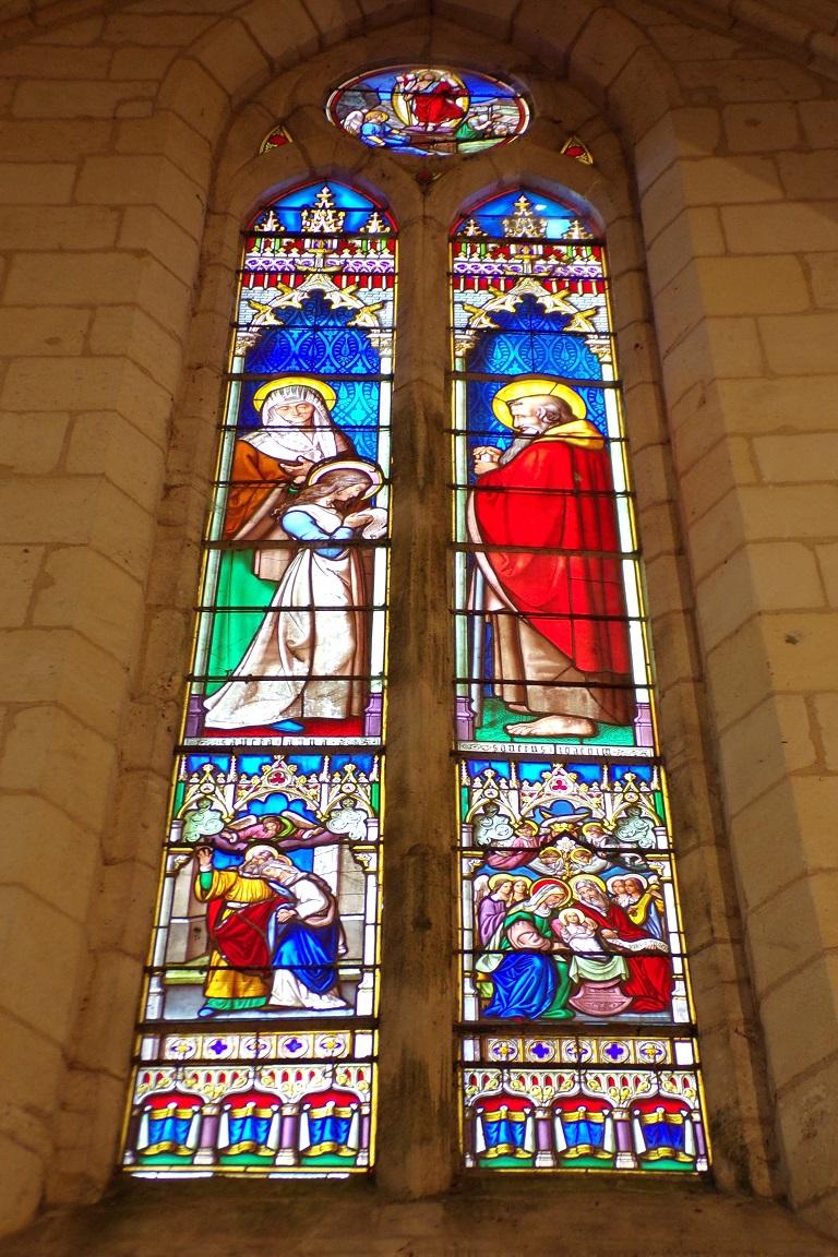Gensac-la-Pallue – L'église Saint-Martin – Le vitrail 'La Vierge et ses Parents' (8 août 2017)