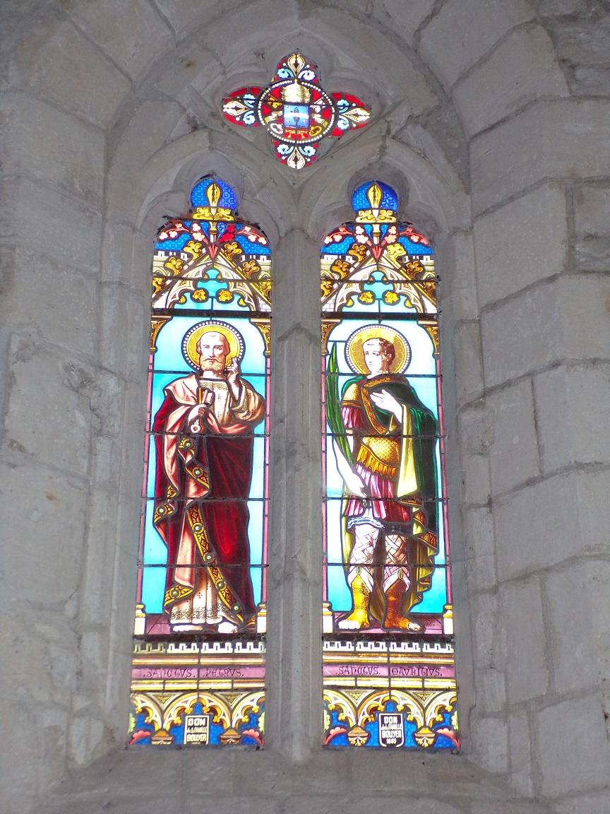 Germignac - L'église Saint-Pierre - Les vitraux 'Saint Pierre - Saint Matrivius' (17 juillet 2018)