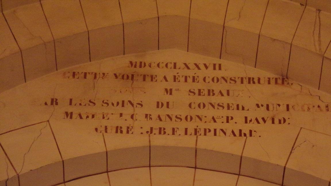 Nercillac - L'église Saint-Germain - Inscription sur une voûte (10 avril 2018)