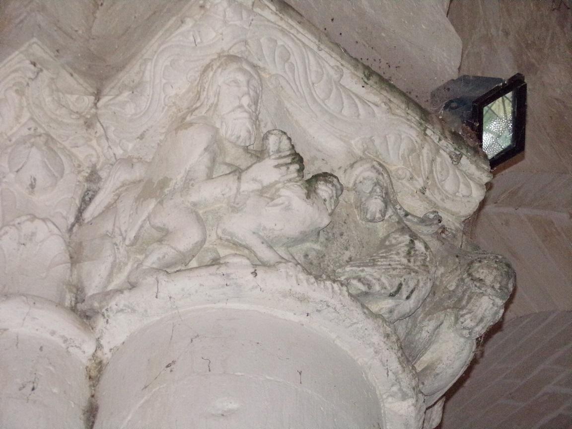 Matha - L'église Saint-Pierre de Marestay - Un modillon (13 août 2018)