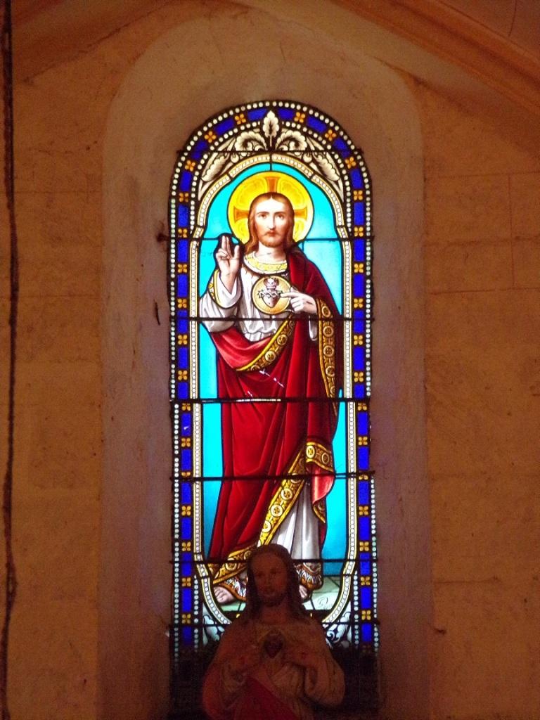 Saint-Brice - L'église Saint-Brice - Le vitrail 'Sacré Coeur de Jésus' (25 juillet 2018)
