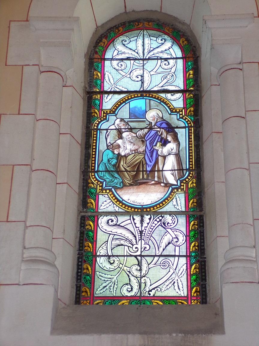 Sainte-Sévère - L'église Saint Augustin - Le vitrail 'F. Lagrange'(23 juillet 2018)