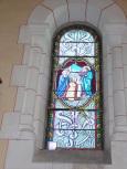 Sainte-Sévère - L'église Saint Augustin - Le vitrail 'F. Lagrange (23 juillet 2018)