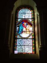 Sainte-Sévère - L'église Saint Augustin - Le vitrail 'F. Lagrange offert par M Paul et Mme Camille MEGRIER' (23 juillet 2018)