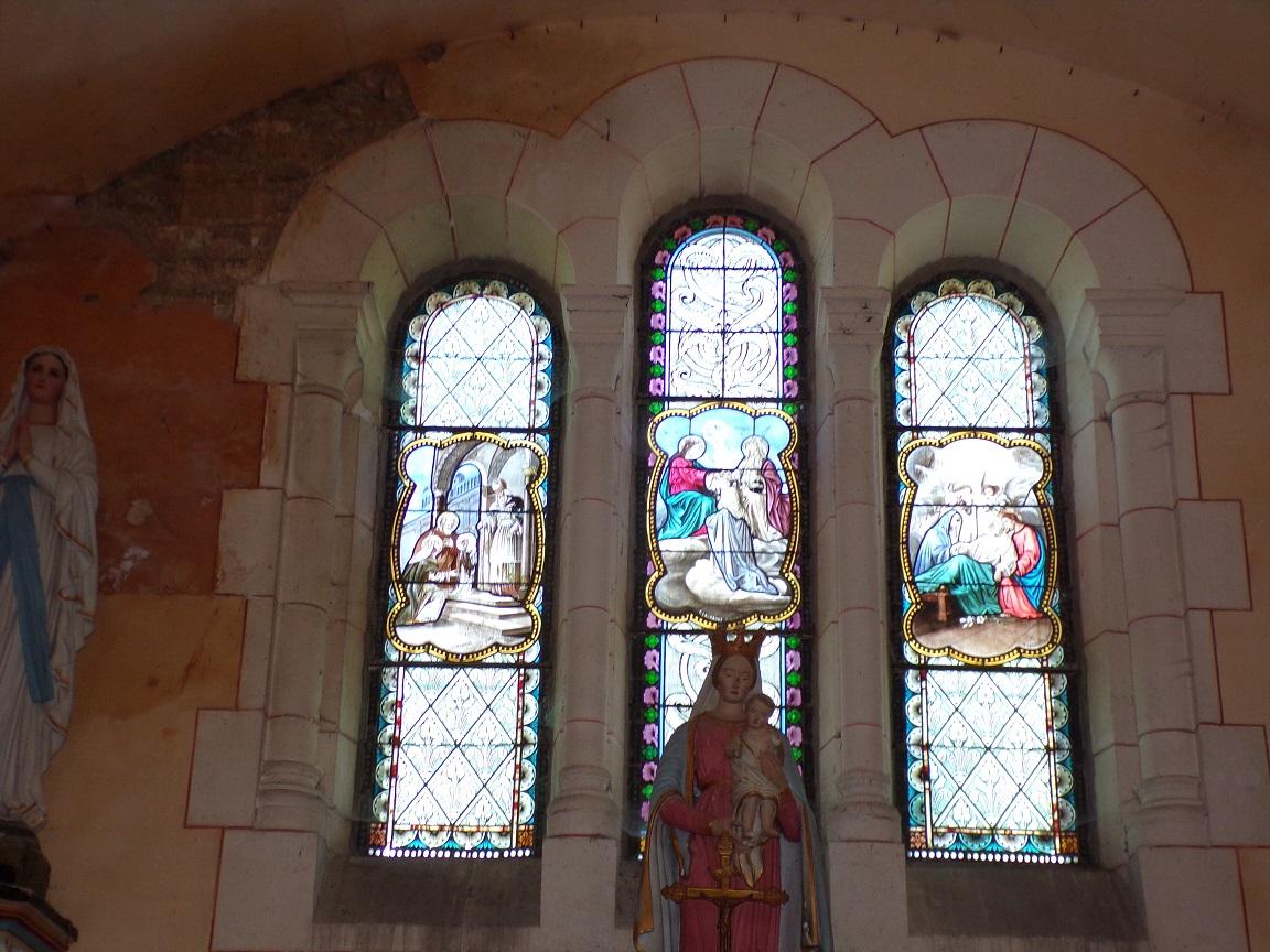 Sainte-Sévère - L'église Saint Augustin - Des vitraux (23 juillet 2018)