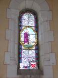 Sainte-Sévère - L'église Saint Augustin - Le vitrail 'F. Lagrange offert par MJ SARDIN' (23 juillet 2018)