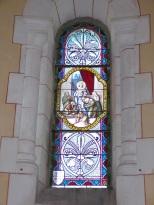 Sainte-Sévère - L'église Saint Augustin - Le vitrail 'F. Lagrange offert par Mme Elisabeth JACQUES (23 juillet 2018)