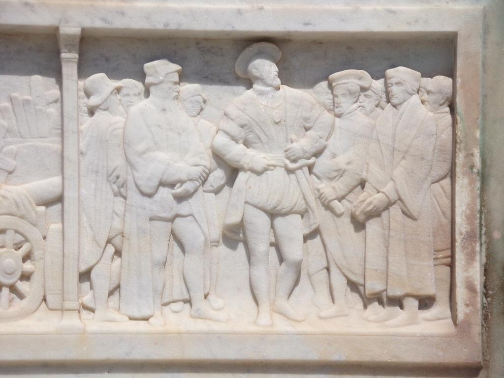 Le Roi entouré d'Erasme, Rabelais, de Vinci, Cellini à Fontainebleau